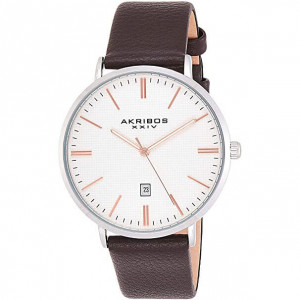 Akribos XXIV Men's Classic Textured Dial and Brown Leather Watch - Men's watch