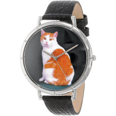 Whimsical Watches Manx Cat Black Leather and Silvertone Photo Unisex Quartz Watch with White Dial Analogue Display and Multicolour Leather Strap T-0120045 - Watch for men and woman